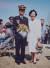 해군 대위 임관식 중인 안철수와 안철수의 어머니 박귀남 여사(1991).[여성중앙 3월호]