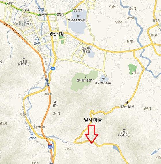 경북 경산시 남천면 송월리 발해마을 위치. 자료: 네이버지도