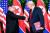 첫 북미 정상회담이 열린 지난해 6월 12일 싱가포르 센토사 섬 카펠라호텔에서 김정은 북한 국무위원장과 도널드 트럼프 미국 대통령이 처음으로 만나 악수를 나누고 있다. [AFP=연합뉴스]