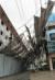 7일 오전 광주 북구 오치동의 한 공사장 가림막이 강풍에 기울어져 있다.[연합뉴스]