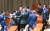 26일 오후 국회 본회의에서 자유한국당 의원들이 주광덕 의원이 조국 법무부 장관에게 질의를 마치고 좌석으로 돌아오자 격려하고 있다. [연합뉴스]