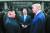지난해 6월 30일 판문점 남측지역에서 만난 김정은 국무위원장과 문재인 대통령, 도널드 트럼프 미국 대통령. [노동신문]