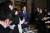 아베 신조 일본 총리가 24일 토마스 바흐 IOC 위원장과 전화회담을 한 뒤, 기자들에게 설명을 하고 있다. [EPA=연합뉴스]