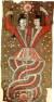 <복희와 여와(伏羲女媧圖)>, 투르판(吐魯番) 아스타나(阿斯塔那)고분 출토, 마(麻)에 채색. 높이 189x79cm, 7세기. [사진 국립중앙박물관 소장]