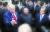 2019년 6월 30일 문재인 대통령(오른쪽)과 김정은 북한 국무위원장(가운데), 도널드 트럼프 미국 대통령이 판문점 공동경비구역(JSA) 자유의 집 앞에서 이야기를 나누고 있다. [뉴시스]