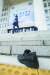 문재인 대통령이 지난달 16일 오후 서울 여의도 국회에서 열린 개원식 연설을 마친 뒤 나서는 가운데 던져진 정창옥씨의 신발. 뉴스1