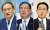 14일 자민당 총재 선거에 출마하는 스가 요시히데 관방장관, 이시다 시게루 전 자민당 간사장, 기시다 후미오 자민당 정조회장(왼쪽부터). [EPA=연합뉴스]