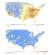 미국 초미세먼지 농도와 코로나19 사망률. 위의 지도는 200~2016년 사이 17년 동안 초미세먼지 오염도를 나타낸 것이고, 아래 지도는 지난 4월 초까지 인구 100만명 당 코로나19 사망자를 나타낸 지도다. 미세먼지 오염이 심한 지역에서 코로나19 사망자도 많음을 보여준다. 자료:미 하버드 공중보건대학