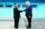 도널드 트럼프 미국 대통령과 북한 김정은 국무위원장이 2019년 6월 30일 판문점에서 군사분계선을 사이에 두고 악수하고 있다. [연합뉴스]