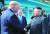 도널드 트럼프 미국 대통령과 김정은 북한 국무위원장이지난해 6월 30일 오후 판문점에서 악수하고 있다. 문재인 대통령이 이를 바라보고 있다. [연합뉴스]