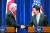 바이든은 앞서 12월 3일 일본 도쿄에서 아베 신조 총리와 공동 기자회견을 했다. [로이터=연합뉴스]