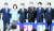 30일 오후 광주 서구 치평동 김대중컨벤션센터에서 열린 국민의힘 당대표·최고위원 후보 광주·전북·전남·제주 합동연설회에서 당대표 후보자와 지도부가 연단에 올라 지지를 호소하고 있다. 왼쪽부터 황우여 선거관리위원장, 주호영·나경원·조경태·홍문표·이준석 후보, 김기현 당대표 권한대행 겸 원내대표. 연합뉴스