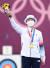 한국 선수 최초로 양궁 3관왕이 된 안산이 30일 일본 도쿄 유메노시마공원 양궁장에서 열린 2020 도쿄올림픽 여자 개인전 시상식에서 금메달을 목에 건 뒤 꽃다발을 흔들며 기뻐하고 있다. [도쿄=올림픽사진공동취재단]