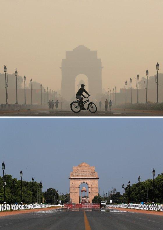 인도 뉴델리의 '인도의 문'에서 바라본 대기오염 변화. 위의 사진은 2019년 10월 17일에 촬영한 것이고, 아래 사진은 코로나19로 봉쇄가 됐던 2020년 4월 8일에 촬영한 것이다. 로이터=WMO