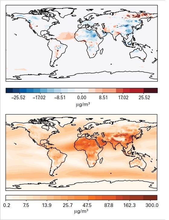 2020 전세계 초미세먼지 농도 분포. 위의 지도는 2020년 농도와 2003~2019년 농도 평균값과 비교했을 때 차이를 나타낸 것이고, 아래 지도는 2020년 평균값을 나타낸 것이다. 자료=세계기상기구(WMO)