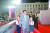 북한이 정권 수립 기념일(9·9절) 73주년을 맞아 9일 자정 평양 김일성광장에서 한국의 민방위 격인 노농적위군과 경찰 격인 사회안전무력의 열병식을 진행했다. 좌우에 화동을 대동하고 열병식을 참관하는 김정은 국무위원장. [연합뉴스]