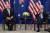 조 바이든 미국 대통령이 지난달 21일 미국 뉴욕에서 스콧 모리슨 호주 총리와 만났다. [AP=연합뉴스]