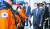 문재인 대통령이 6일 충남 공주시 중앙소방학교에서 열린 제58주년 소방의 날 기념식에서 소방대원들을 격려하고 있다. [뉴시스]