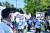 23일 올림픽 개회식이 열린 메인스타디움 근처에는 올림픽 중단을 요구하는 시위가 열렸다. 장진영 기자